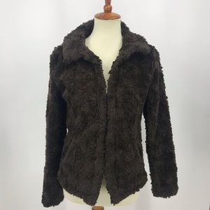 Dylan Fuzzy Jacket Brown Sweater